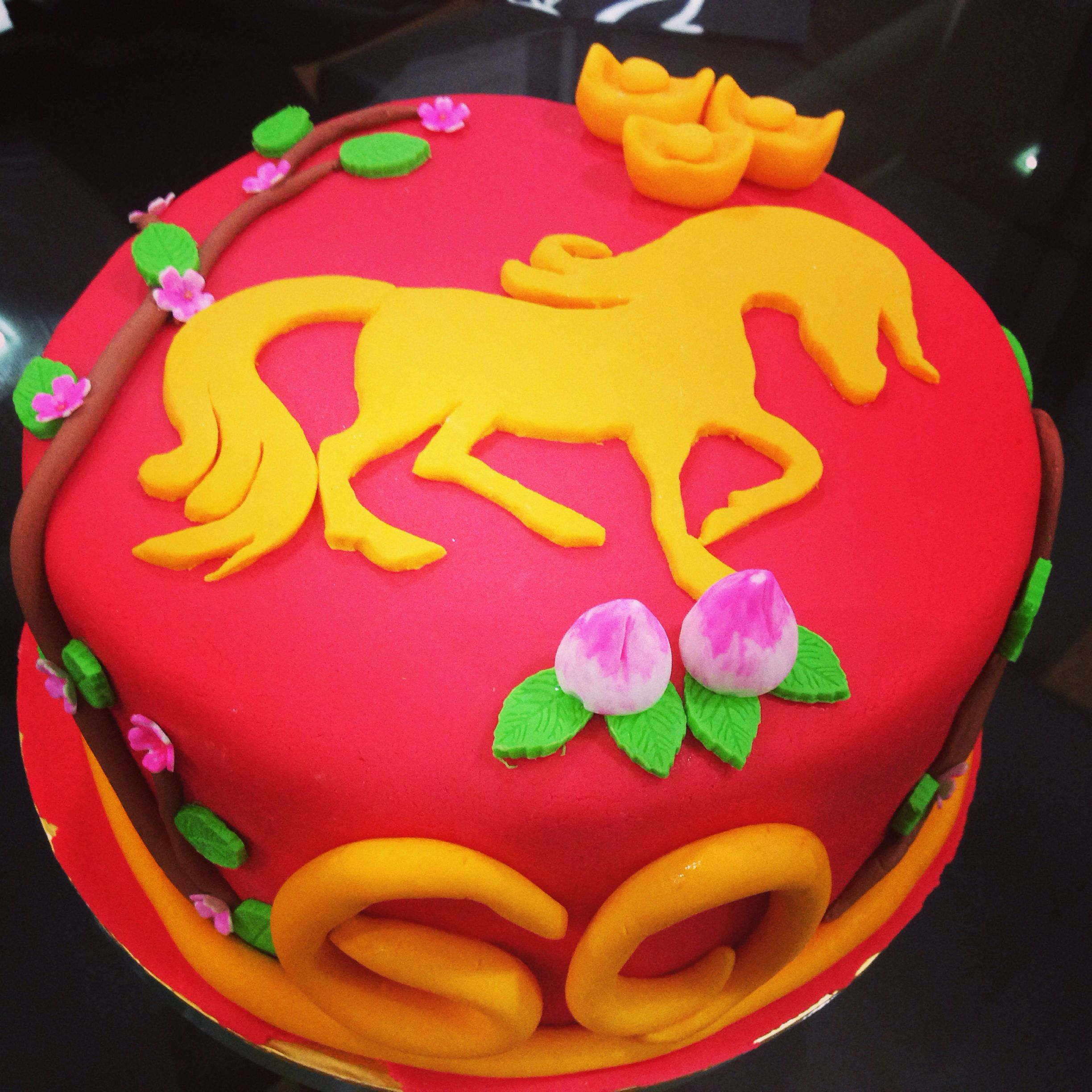 Red Chinese horse fondant cake for birthday. Pop S, 60th ...