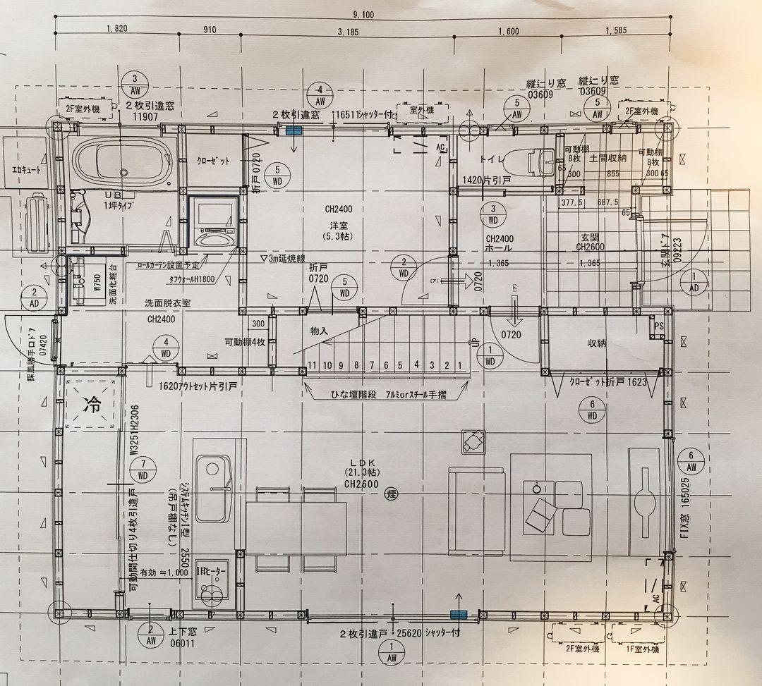 総二階 土地 100坪 建坪40坪 平面図 が出来ました リビング は広くしたて広くしたけど エアコン絶対きかないよなーと どうなんだろう 階段は スケルトン がよかったけど 収納重視 で最後まで悩み断念 ニ階 の 子供部屋 は将来3人になった時に仕切れる