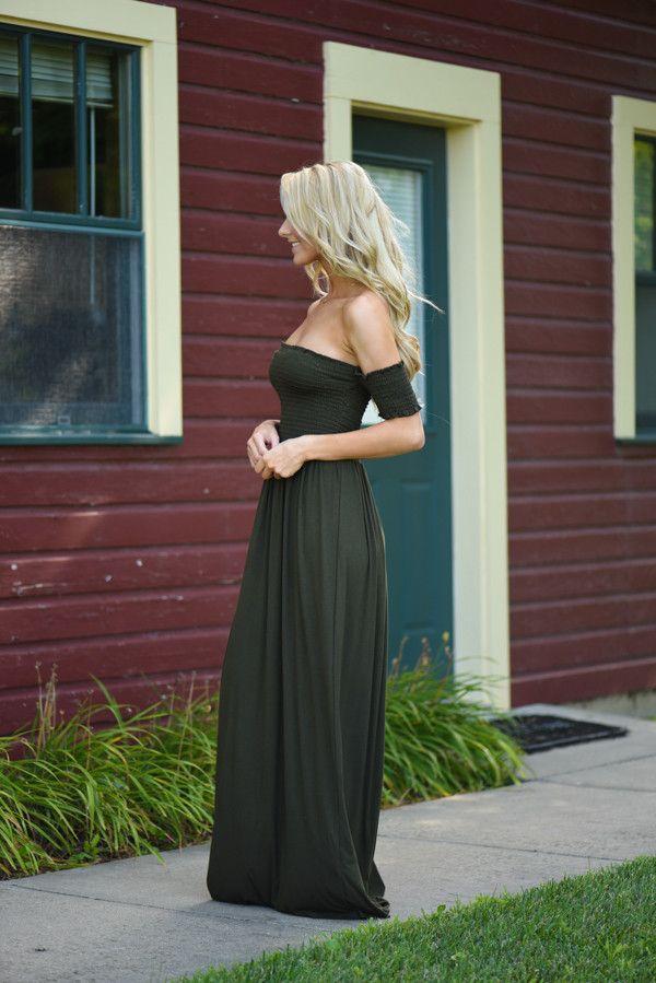 Olive Off The Shoulder Dress