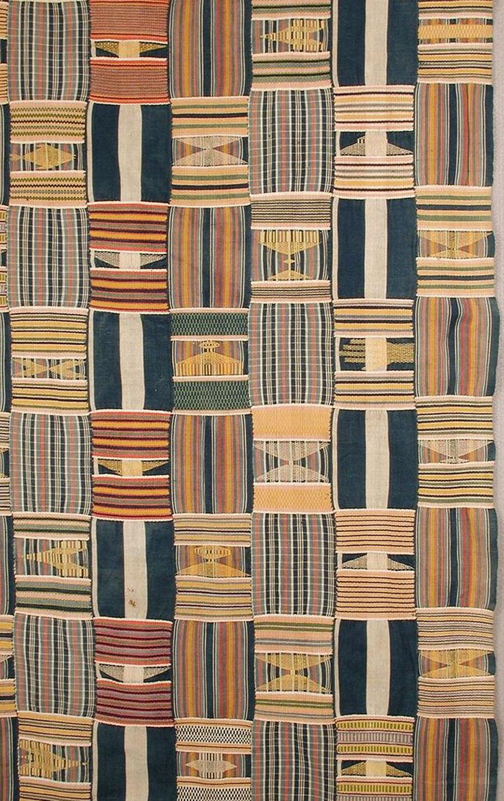 Africa | Detail from a woman's wrapper from the Ewe people of Agbozume area, Ghana | Cotton; 14 hand-woven strips, hand sewn together with three different alternating warp stripes. The weft designs are both geometric blocks and inserted figurative designs including a hand and stylized arrows and stools. | Mid 20th century || Object no. 2001-13-2