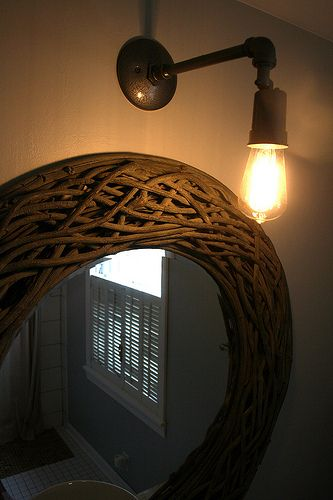 light fixture made from plumbing electrical parts then sprayed