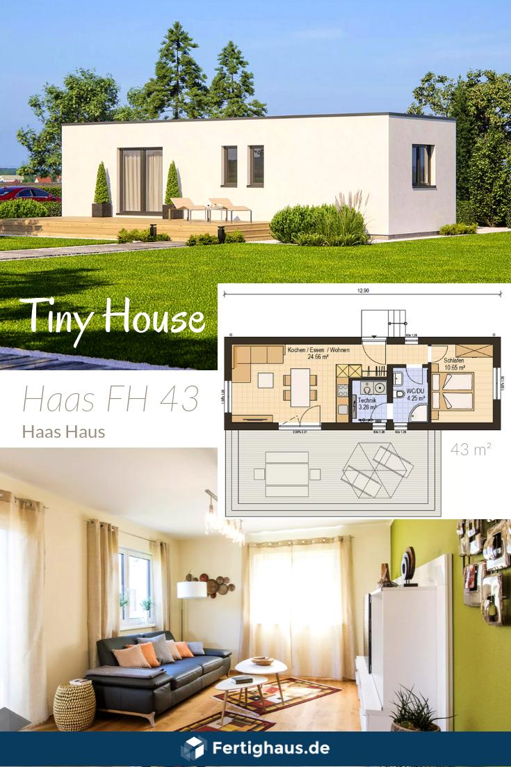 Modulhaus mit Grundriss von Haas Haus ➤ Erhalte alle Infos zum Haus mit einem Klick auf das Bild. Weitere Häuser findest Du auf Fertighaus.de ____ #fertighausde fertighaus, singlehaus, hausplan, grundriss, bungalow, tiny house, einrichtung #tinyhouses