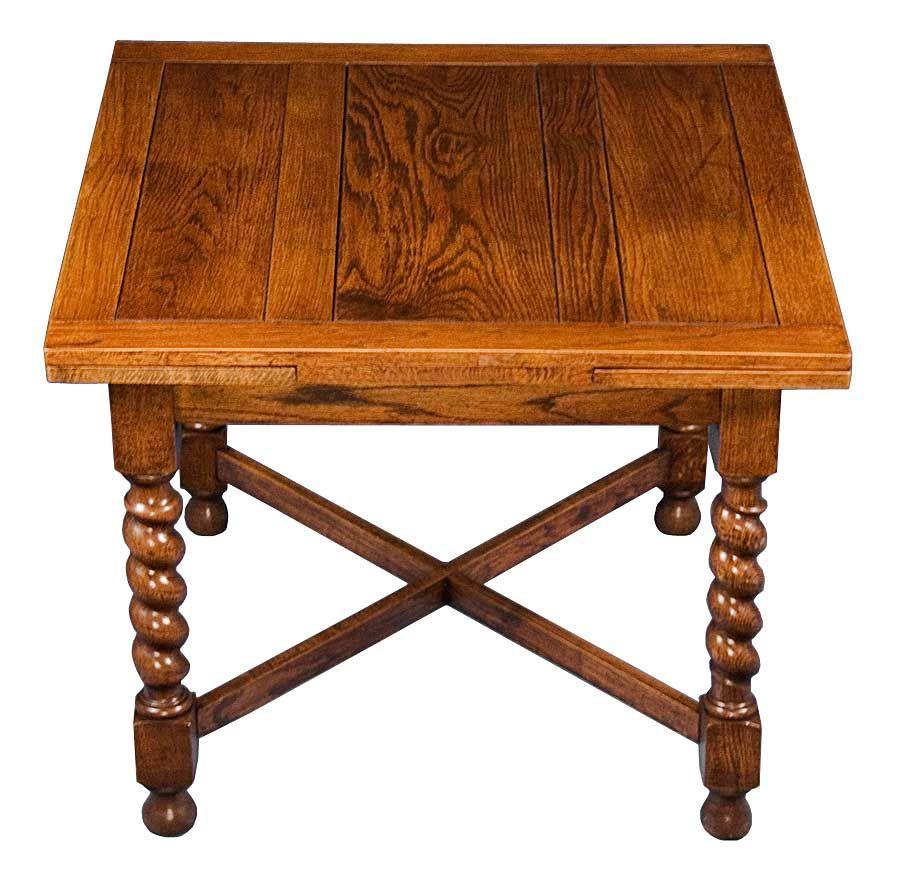 English Oak Antique Barley Twist Draw Leaf Pub Table Dining Game