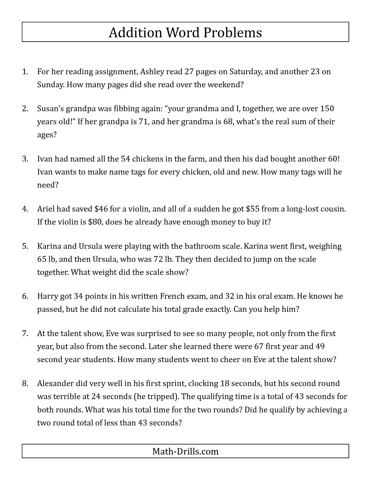 Single Step Addition Word Problems Using Two Digit Numbers A Word Problems Worksheet Addition Word Problems Addition Words Math Word Problems