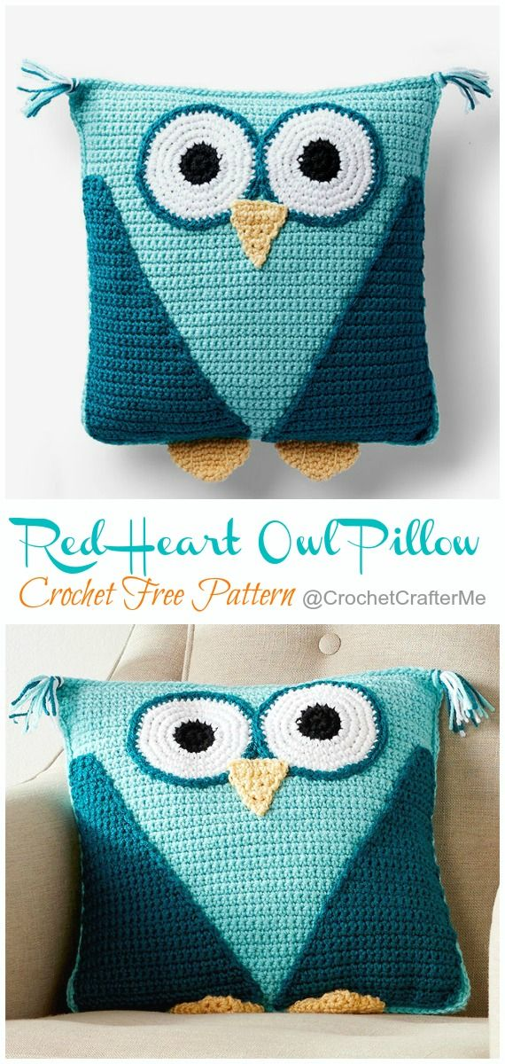 Huggable Owl Pillow Crochet Free Patterns #tejidos