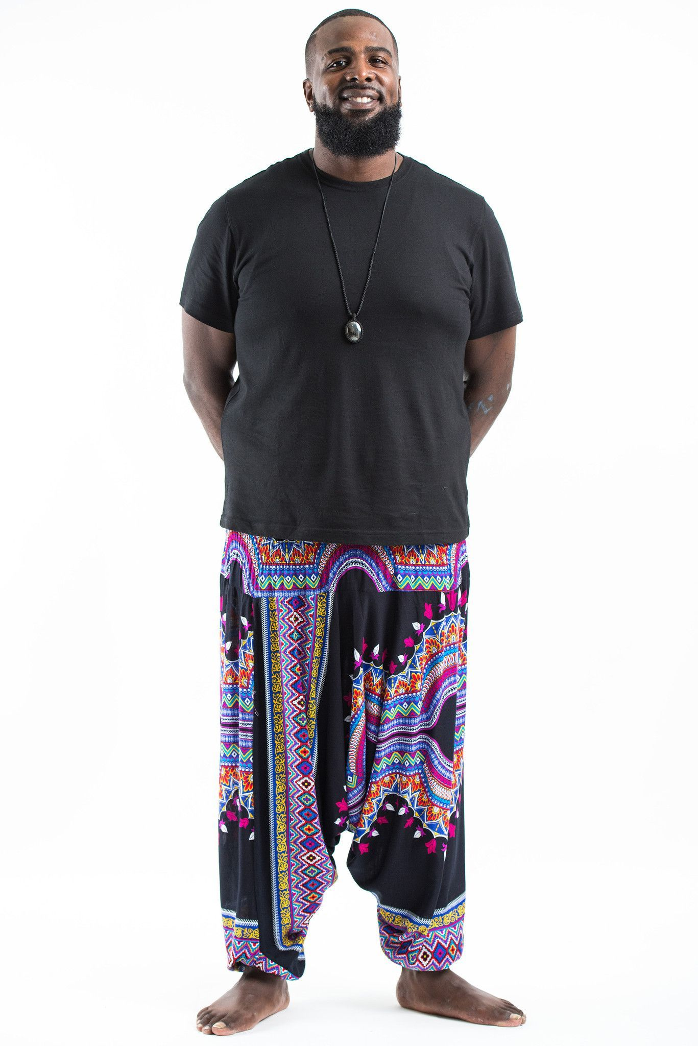 c1d68fa444f Plus Size Dashiki Prints Drop Crotch Men s Harem Pants in Black ...