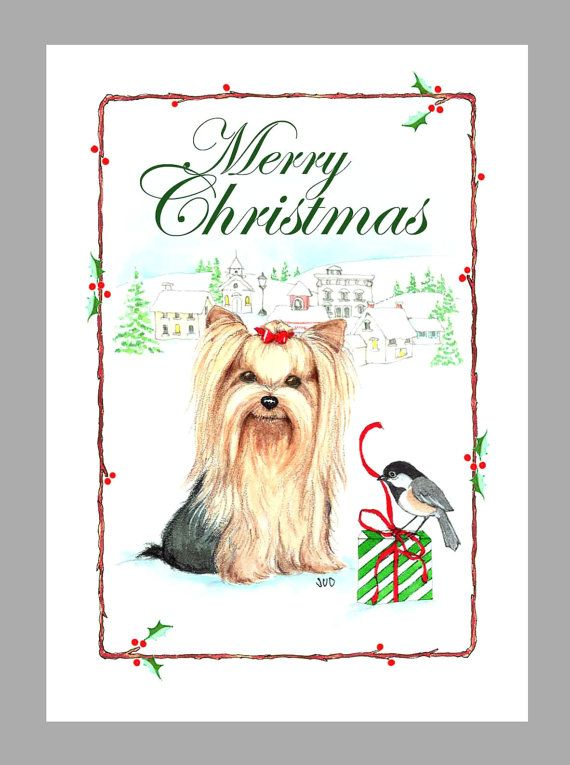 Yorkshire Terrier Christmas Cards Box Of 16 Cards And 16 Envelopes In 2020 Yorkshire Terrier Yorkie Christmas Cards Boxed Christmas Cards