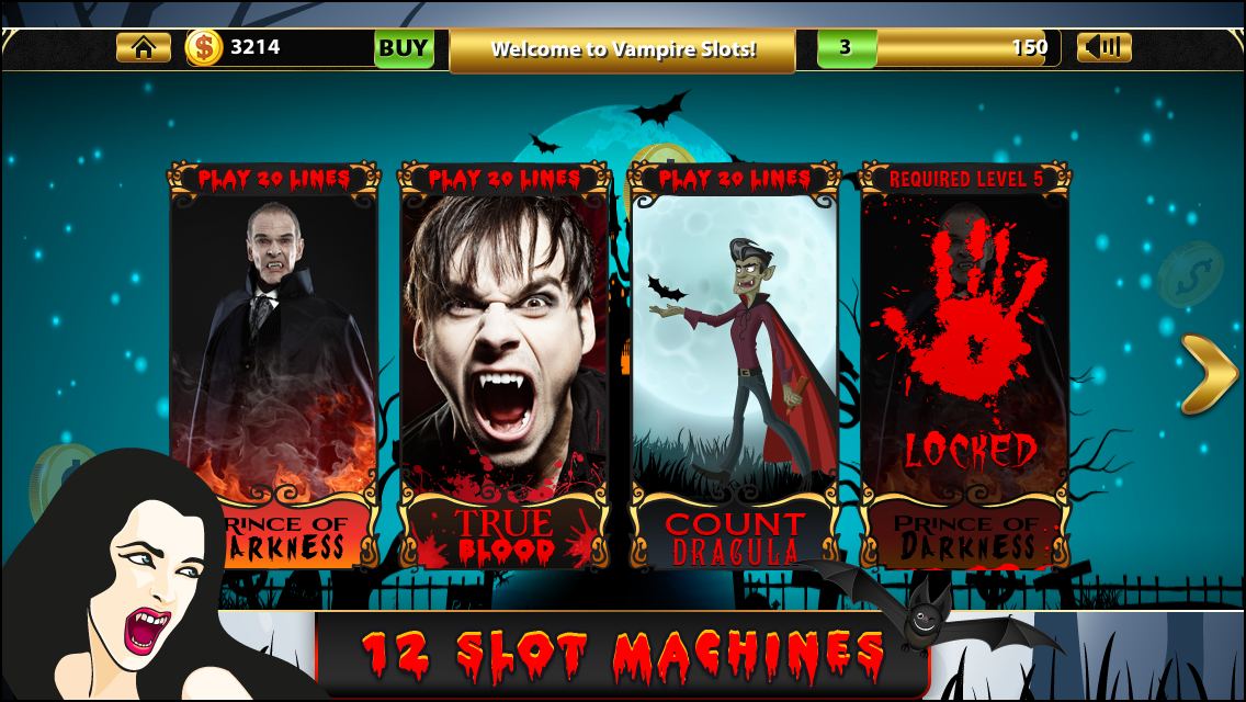 Experience a different kind of shiver and thrilling experience with the Prince of Darkness when you play Aristocrat Vampire Slots. You will be enjoying the same casino slot machine game entertainment but with the company of Count Dracula. Try out your luck and see if you can outwit the Bats from Hell.  Are you ready to be a part of the Transylvania Diaries with just a few taps on your device? Download and play Aristocrat Vampire Slots now.