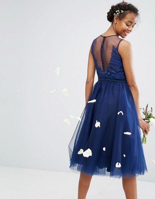 Chi Chi London Embroidered Tulle Midi Skater Dress With Button Back ...