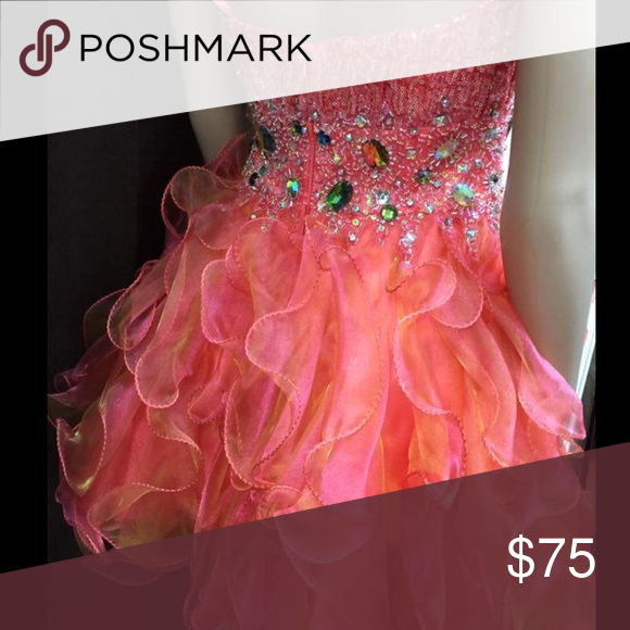 Party dress, pink, size medium. This beautiful formal is ready for you to dance the night away!  Gems, poof and pretty pink! Dresses Strapless