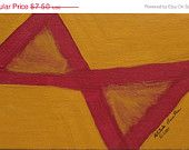YEAR END SALE 25% off Cosmic Bowtie acrylic on fiberboard 5 inches x 8 inches