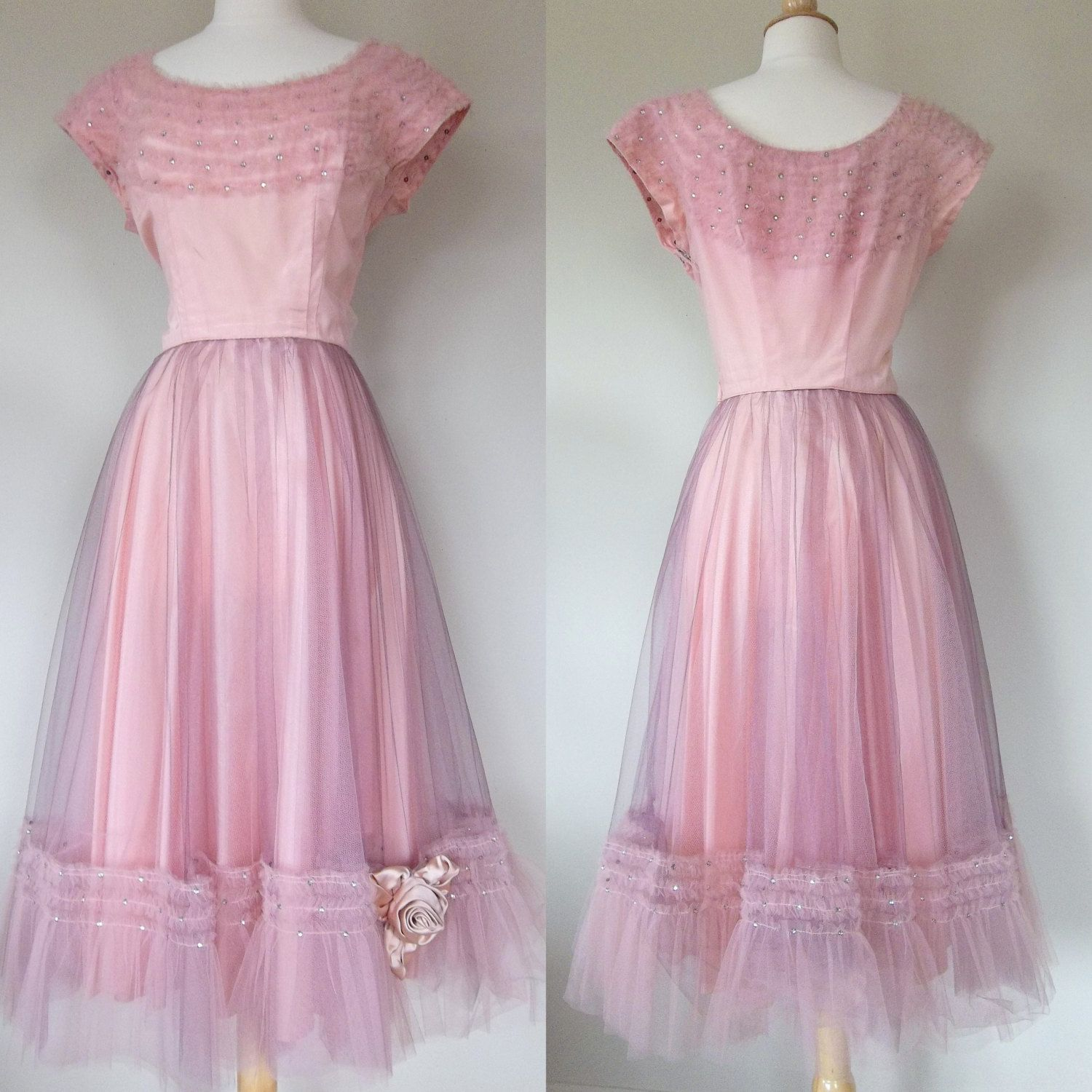 Vintage 50\'s pink and purple tulle prom dress rhinestones medium ...