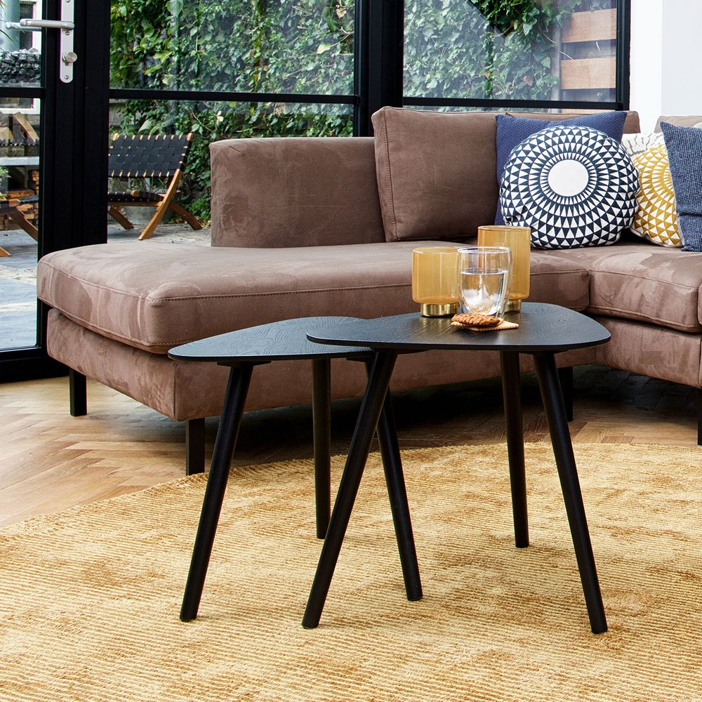 2er Set Kaffeetisch Nila Schwarz Beistelltische Tischset Satztische Anstelltisch Tisch Kaffeetisch Und Beistelltische