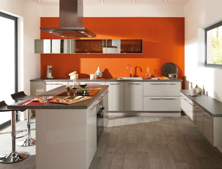 Cuisine Orange La Couleur Tonifiante Et Vive Orange Kitchen Decor Kitchen Decor Photos Chic Kitchen