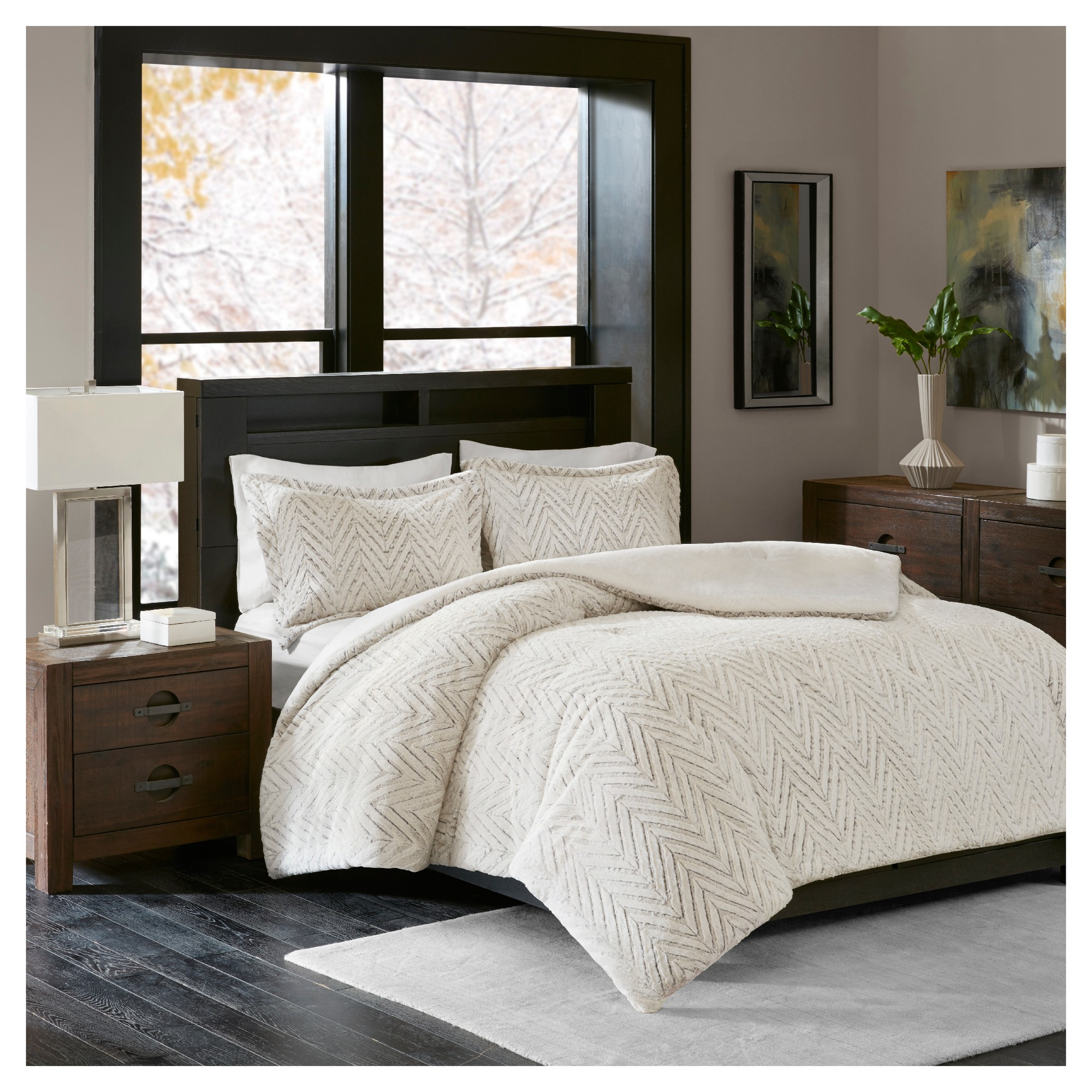 Ivory Aurora Plush Down Alternative Comforter Set Twin
