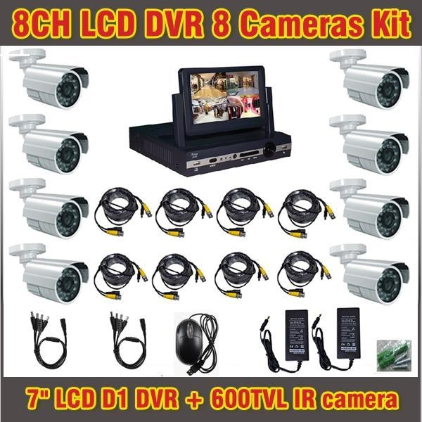 278.99$  Buy here - http://ain9u.worlditems.win/all/product.php?id=1579613685 - 7 Inch Lcd DVR 8 channel 600TVL Camera Outdoor CCTV Systems 8ch DVR Kit Waterproof CCTV Security Surveillance DVR Record System