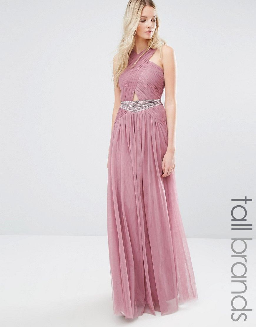 Little+Mistress+Tall+Cutout+Detail+Maxi+Dress+With+Embellished+Waist ...