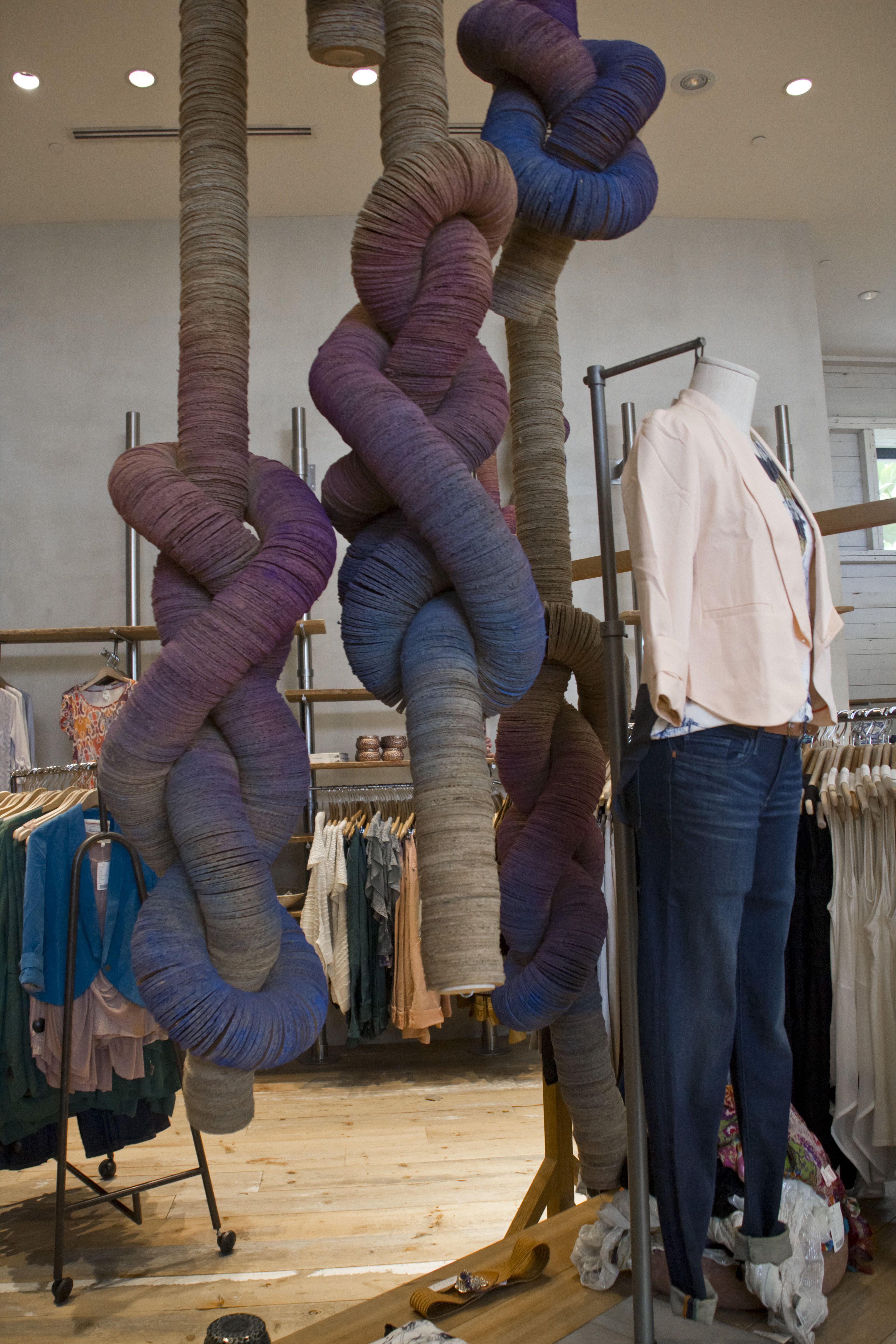 anthropologie store display giant knots made from multicoloured cardboard threaded through. Black Bedroom Furniture Sets. Home Design Ideas