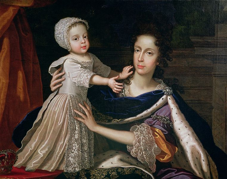 Mary of Modena with the future King James III, 1690s