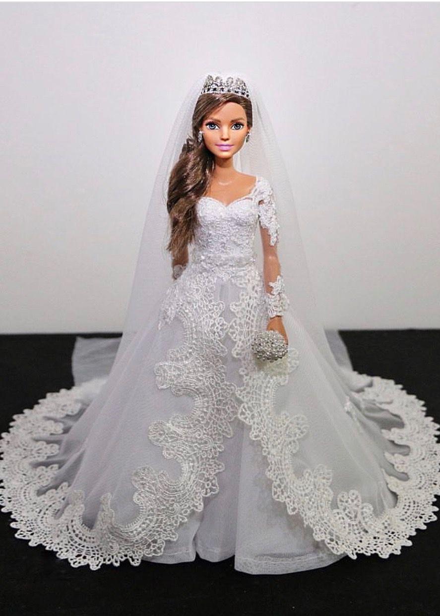 17..17/ sammurakammi  Barbie wedding dress, Doll wedding dress