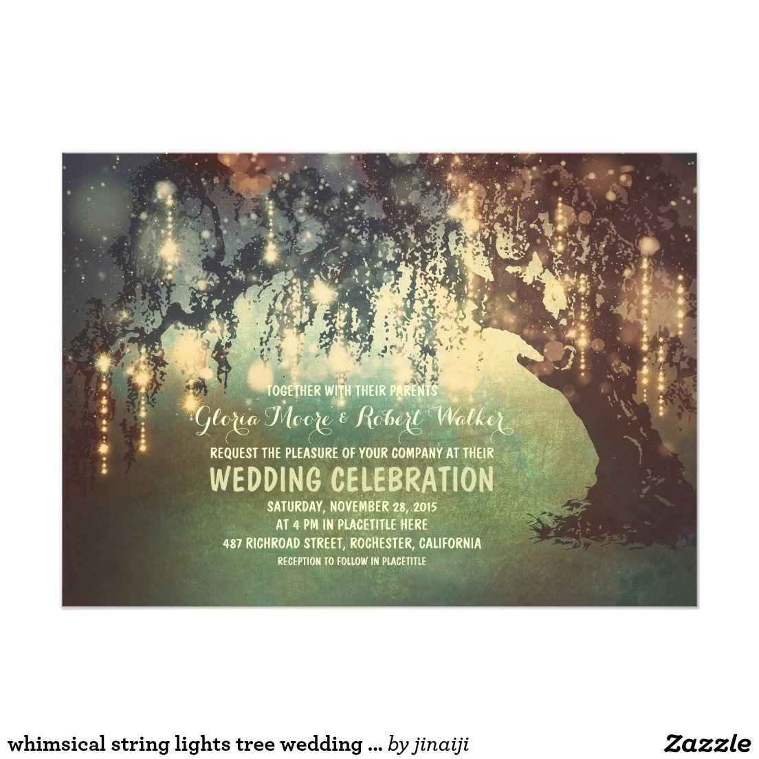 Whimsical String Lights Tree Wedding Invitations Wedding Invites