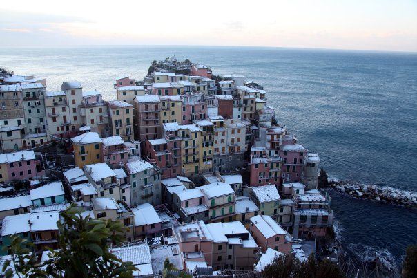 Winter in Cinque Terre--who knew it could snow?