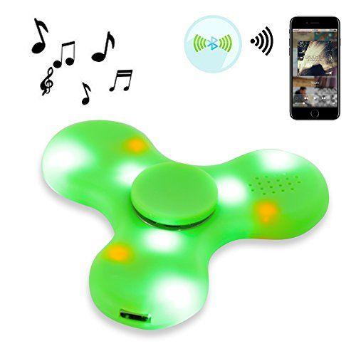 Bluetooth Music LED Light Fidget Hand Spinner Tri Finger Stress Relief Toy Green