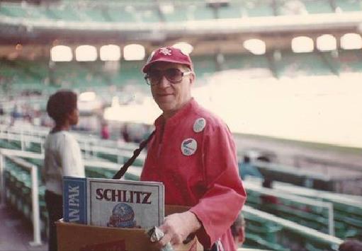 Willard Vincent. September, 1979. Selling Schlitz in a deserted park.