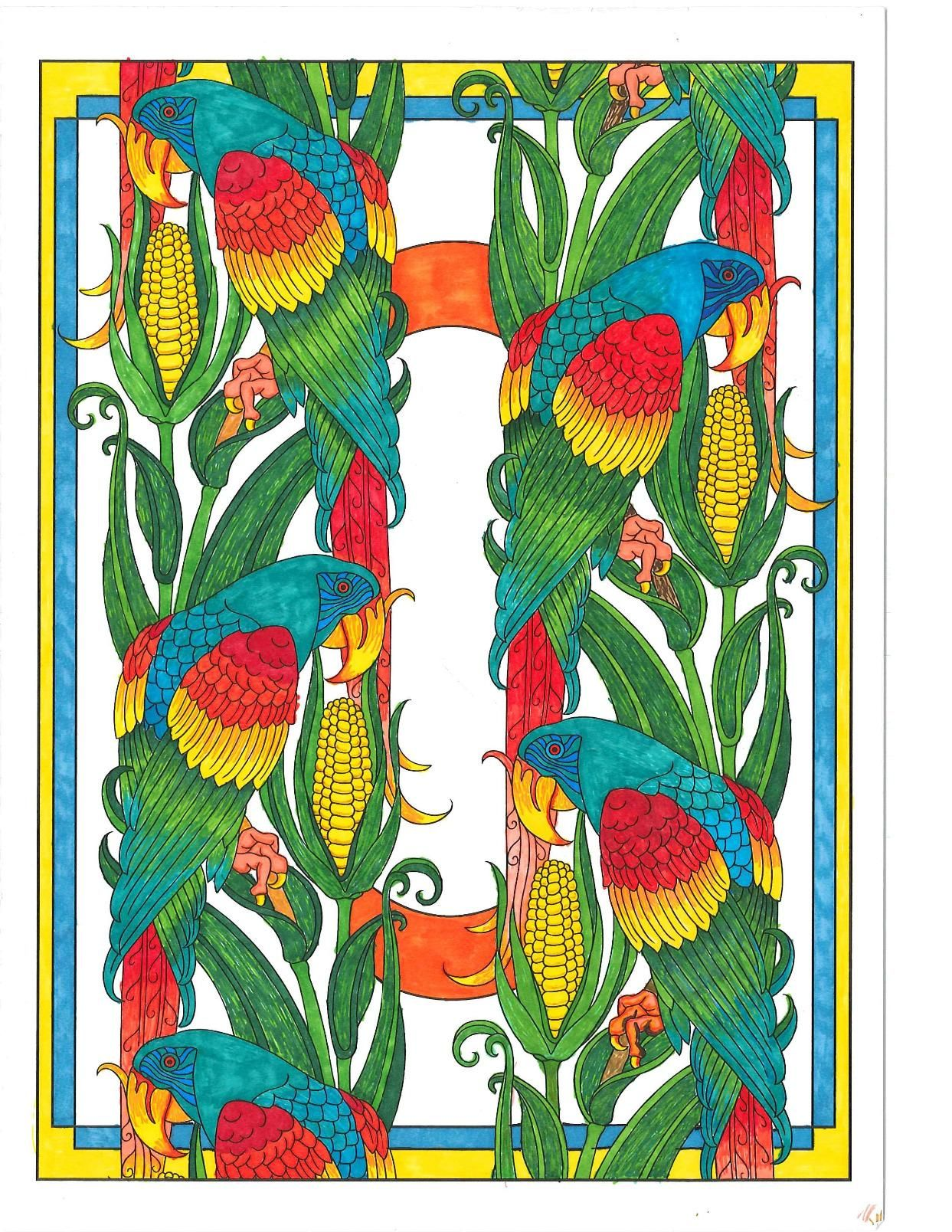 Flower drawings on pinterest dover publications coloring pages and - Colored With Ultra Fine Sharpies And Bic Mark It Markers From Art Nouveau Animals Coloring Book From Dover Publications