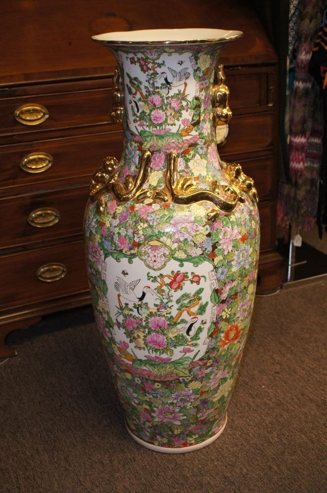 Large Chinese Famille Rose Medallion Floor Vase Painted Porcelain Palace Urn In 2019 Cl To Do