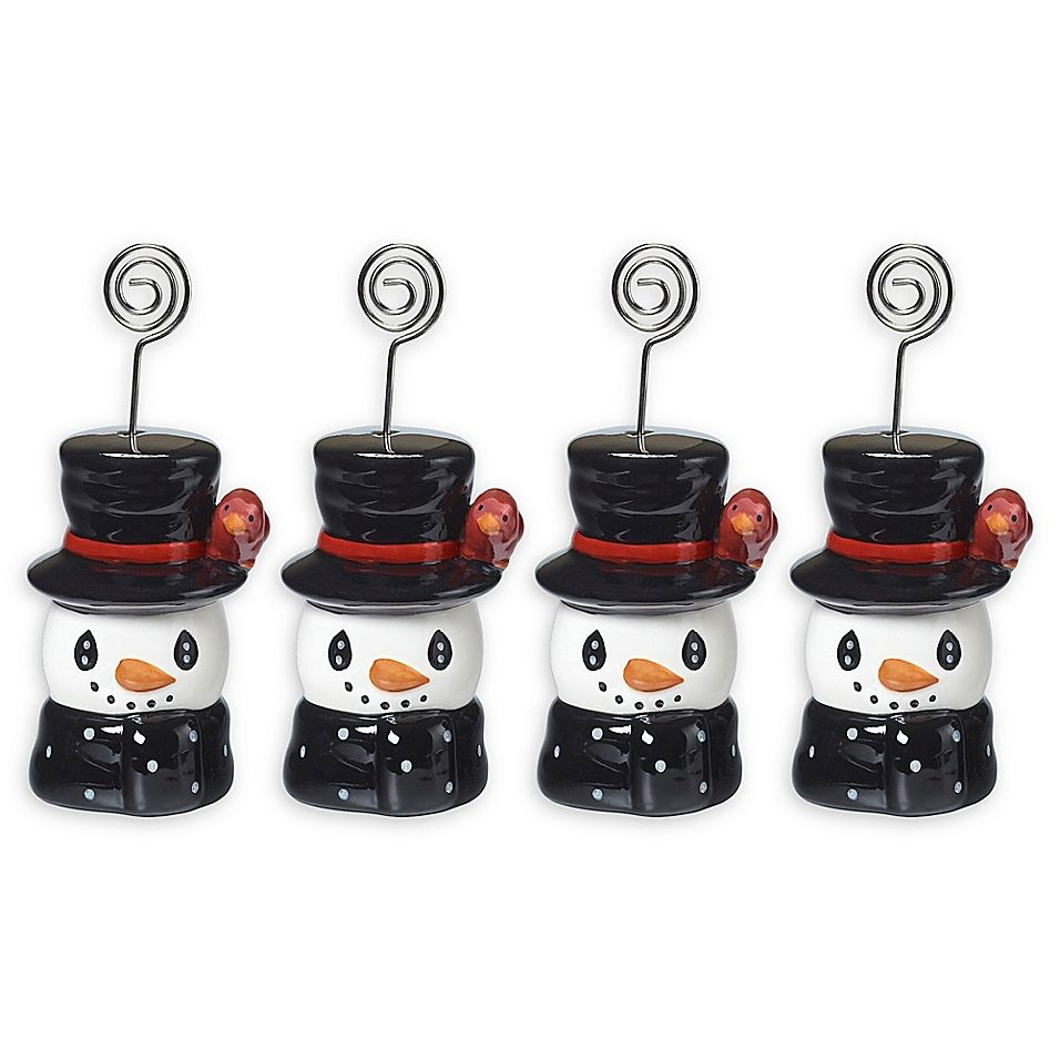 Precious moments holiday snowman place holder set of 4