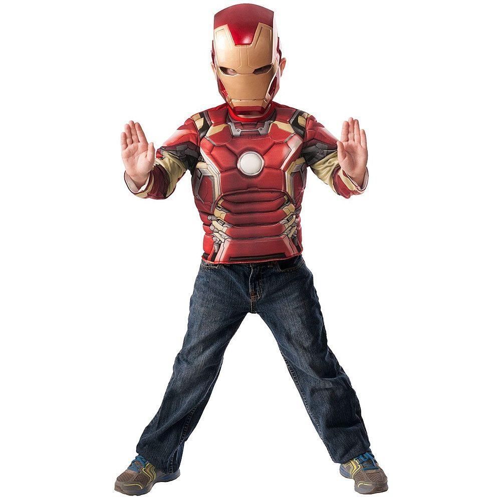 Iron Man - Disfarce Iron Man Musculoso com Máscara em Caixa 5-6 anos, um peito musculoso e uma máscara do Iron Man como no filme Os Vingadores: A Era de Ultron. Ideal para recriar as cenas com este super-herói da Marvel.