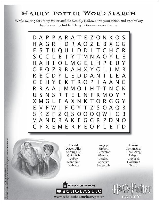 harry potter word search pdf