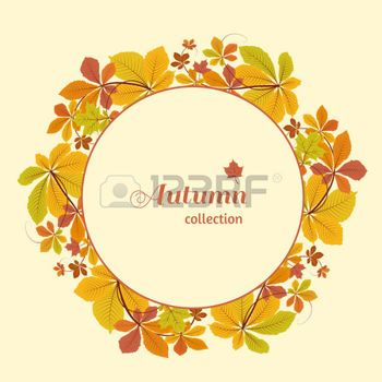 hojas de otoño: Abstract autumn background, circle frame with colorful chestnut leaves, yellow autumn leaves, seasonal background