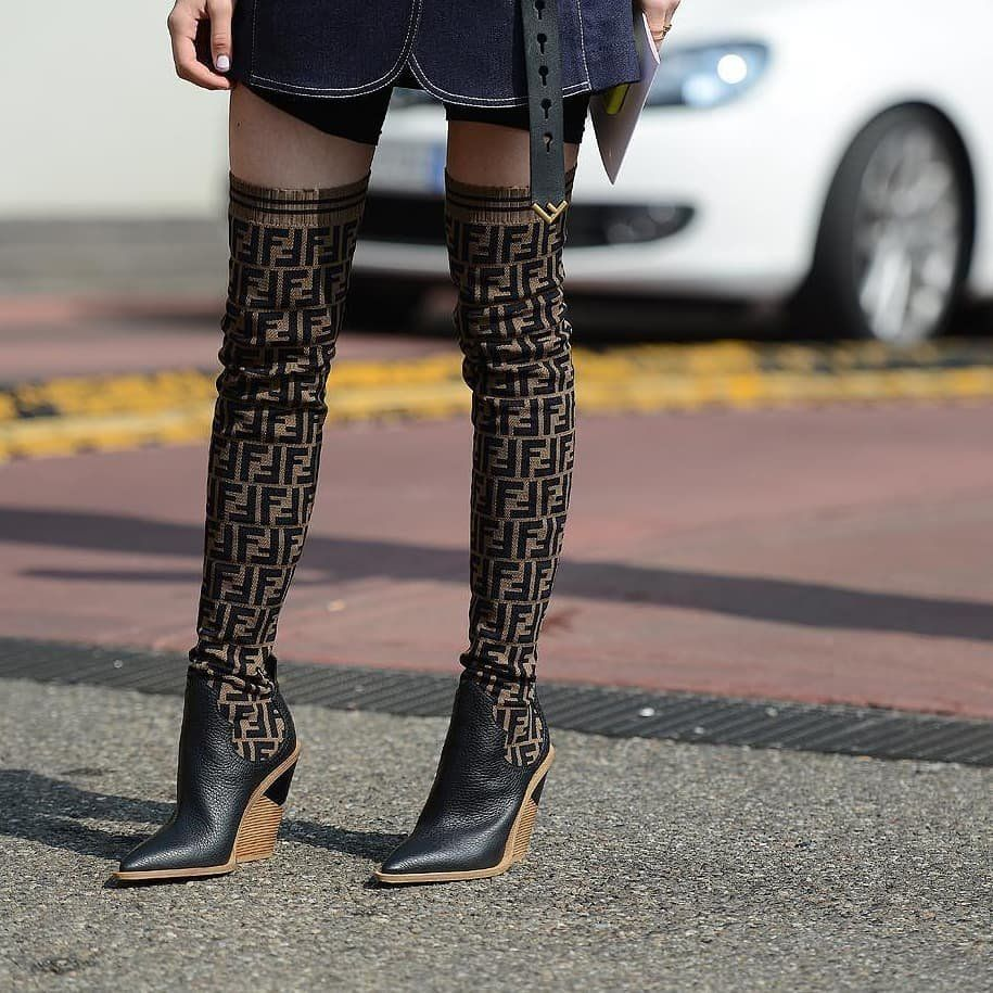 a993dca9d5ea Fendi Black Forever Fendi Cowboy Over-The-Knee Sock Boots in 2019 ...