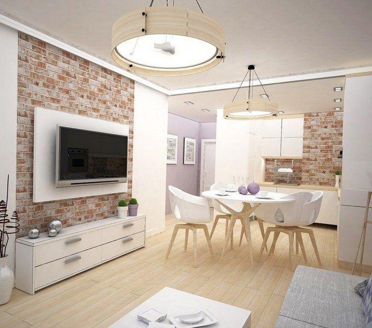 parement mural salon et peinture artistique en 80 id es d co parement mural meuble blanc et. Black Bedroom Furniture Sets. Home Design Ideas