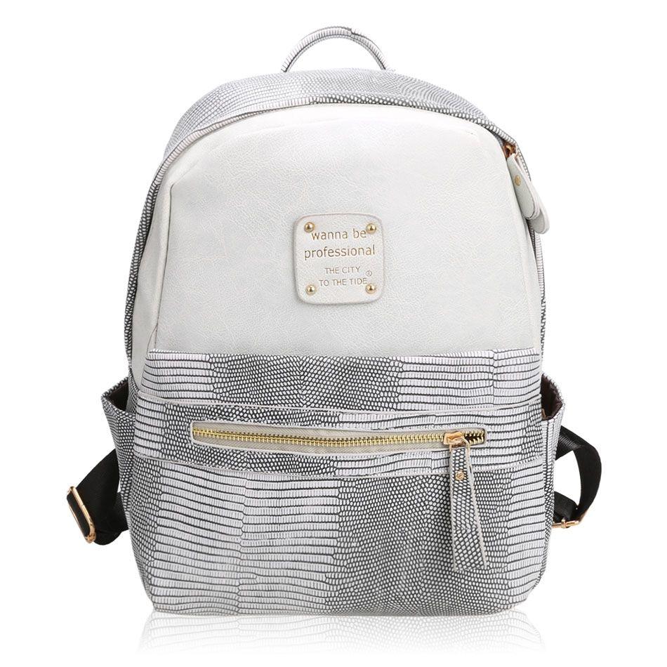 Moda mulheres meninas mochila Artificial couro contraste cor mochila mochilas