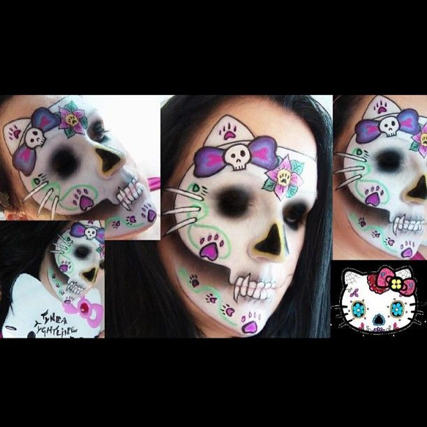Hello Kitty's all grown up and she's up to no good! Ines Kacijan Gina created this creepy kitty sugar skull using Sugarpill Poison Plum, Dollipop and Sweetheart palette eyeshadows. Amazing work!