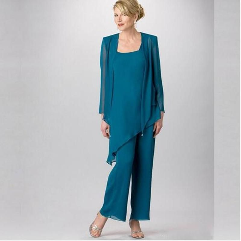 Cheap Classy Champagne Mother Of Bride Pant Suits Jewel Neck Cheap ...