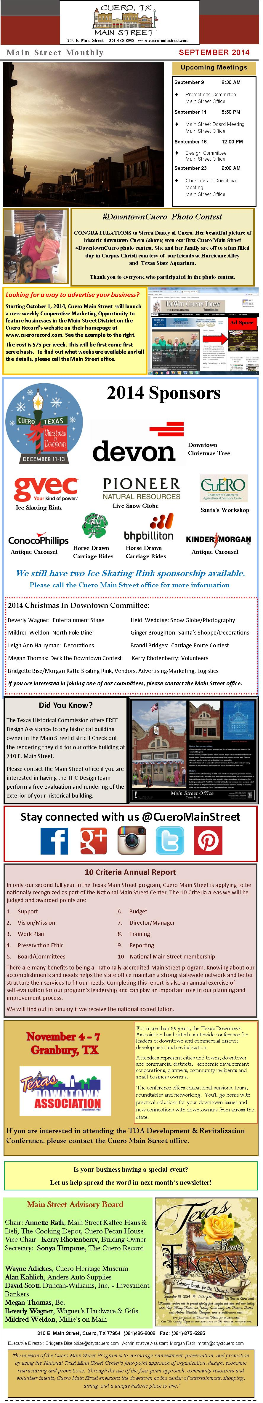 Our September Newsletter is now on our website. Check it out!! http://cueromainstreet.com/about-us/newsletters/