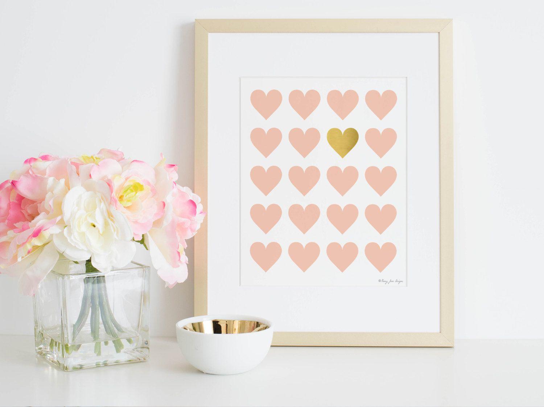 Gold heart print art print nursery digital printable decor wall