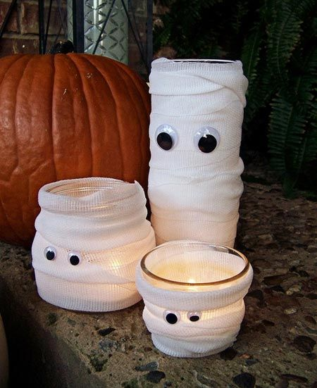Idee deco bougies halloween halloween pinterest for Idee decoration porte halloween