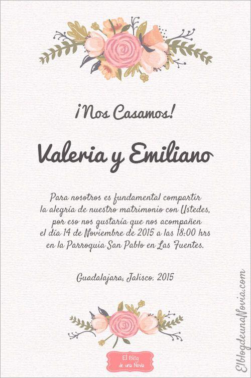 ejemplo de invitacion de boda