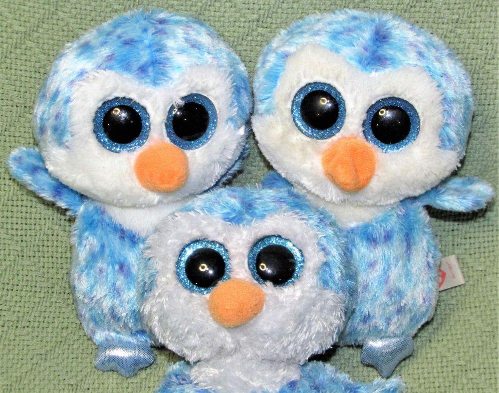 "3 Ty Beanie Boos ICE CUBE 6"" Blue PENGUIN Plush Stuffed"