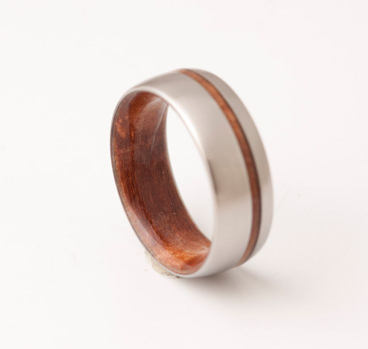 titanium and red wood mens wood rings wood wedding band - Mens Wooden Wedding Rings