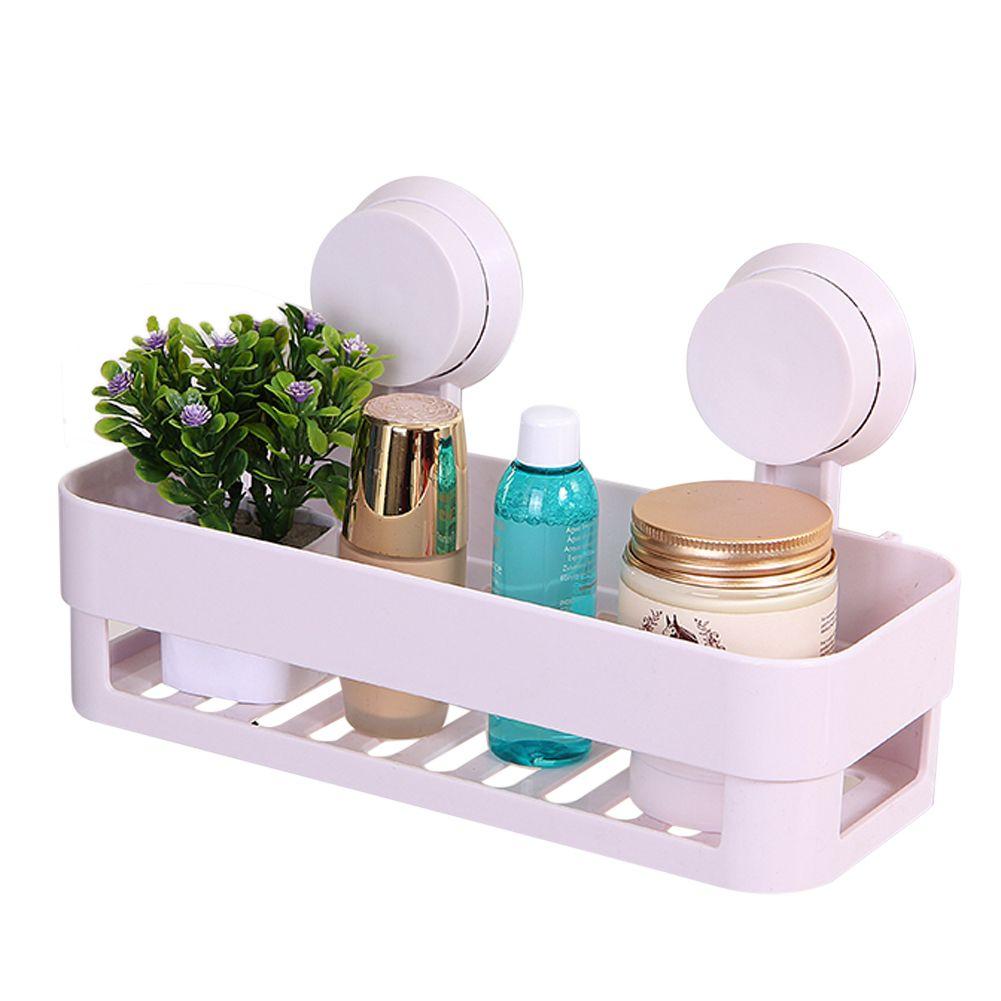 2pcs Bathroom Storage Holder Kitchen Wall Hanging Shelf With Suction Pad Plastic  Storage Rack 26 X 12 X 7cm Bathroom Accessories #Affiliate