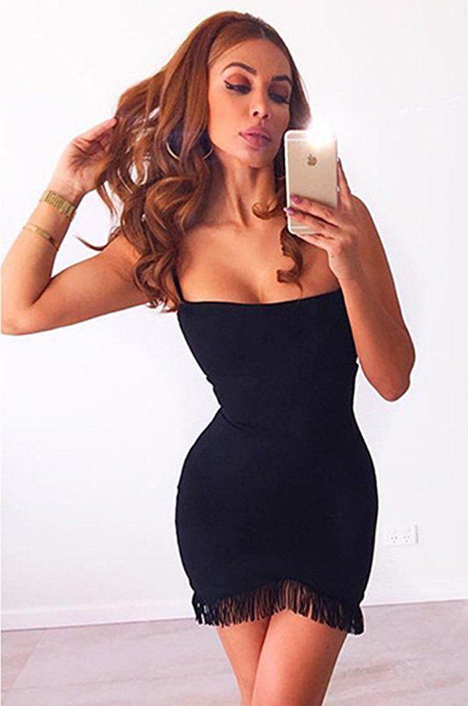77c4f4caaf7f0 Spaghetti Strap Tassel Party Lady Sexy Bandage Dress | Products ...
