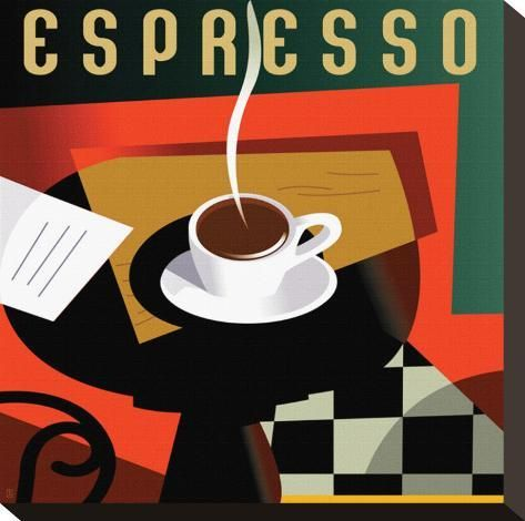 'Cubist Espresso I' Stretched Canvas Print - Eli Adams | Art.com