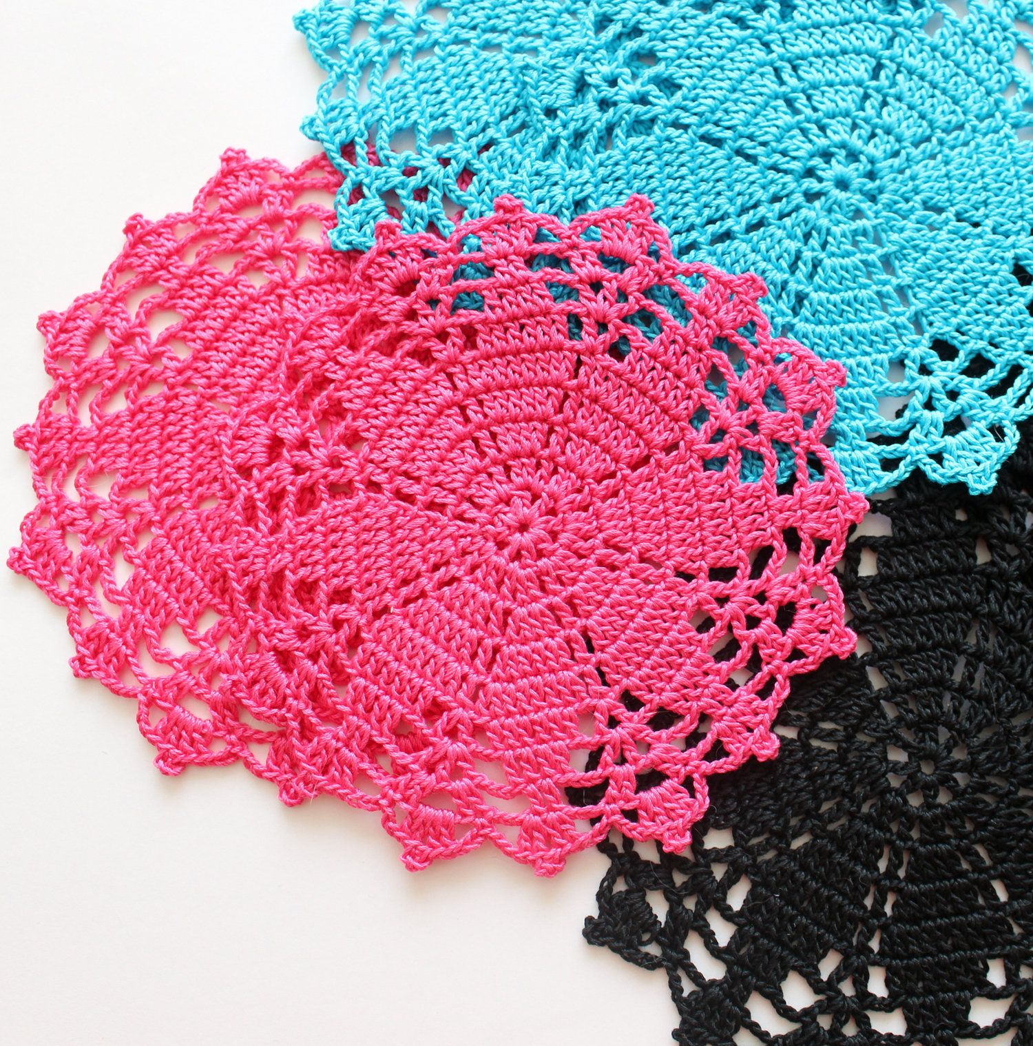 Crochet Coasters Small Round Doilies Placemats Hot Pink Etsy Crochet Coasters Crochet Crochet Doilies