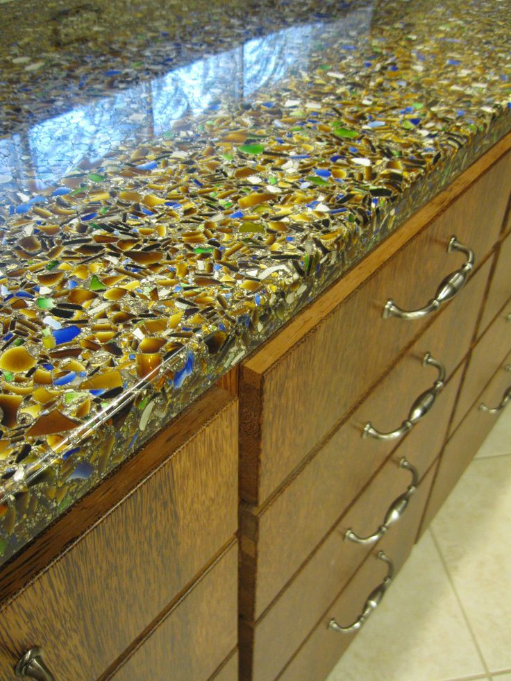 Epoxy Resin Kitchen Countertops Cushioned Mat Vetrazzo - Charisma Blue Recycled Glass Countertop. Warm ...